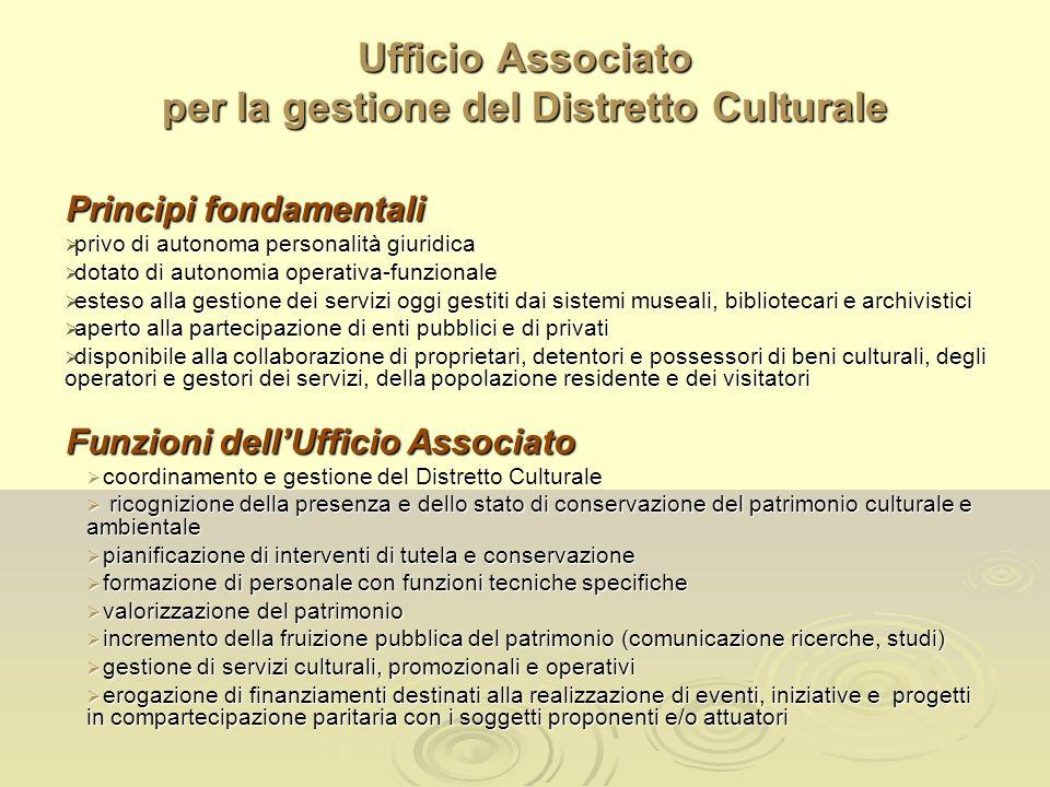 Ufficio Associato per la gestione del Distretto Culturale Principi fondamentali privo di autonoma personalità giuridica privo di autonoma personalità
