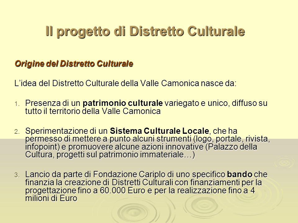 Il progetto di Distretto Culturale Origine del Distretto Culturale Lidea del Distretto Culturale della Valle Camonica nasce da: 1. Presenza di un patr