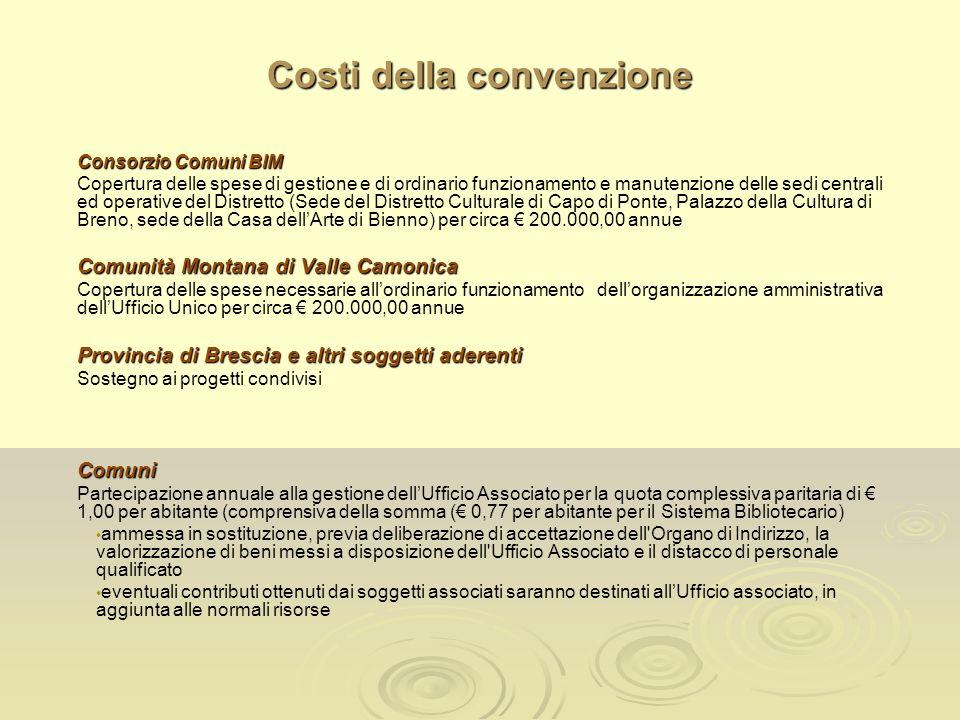 Costi della convenzione Consorzio Comuni BIM Copertura delle spese di gestione e di ordinario funzionamento e manutenzione delle sedi centrali ed oper