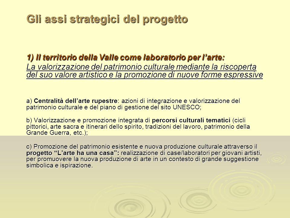 Gli assi strategici del progetto 1) Il territorio della Valle come laboratorio per larte: La valorizzazione del patrimonio culturale mediante la risco
