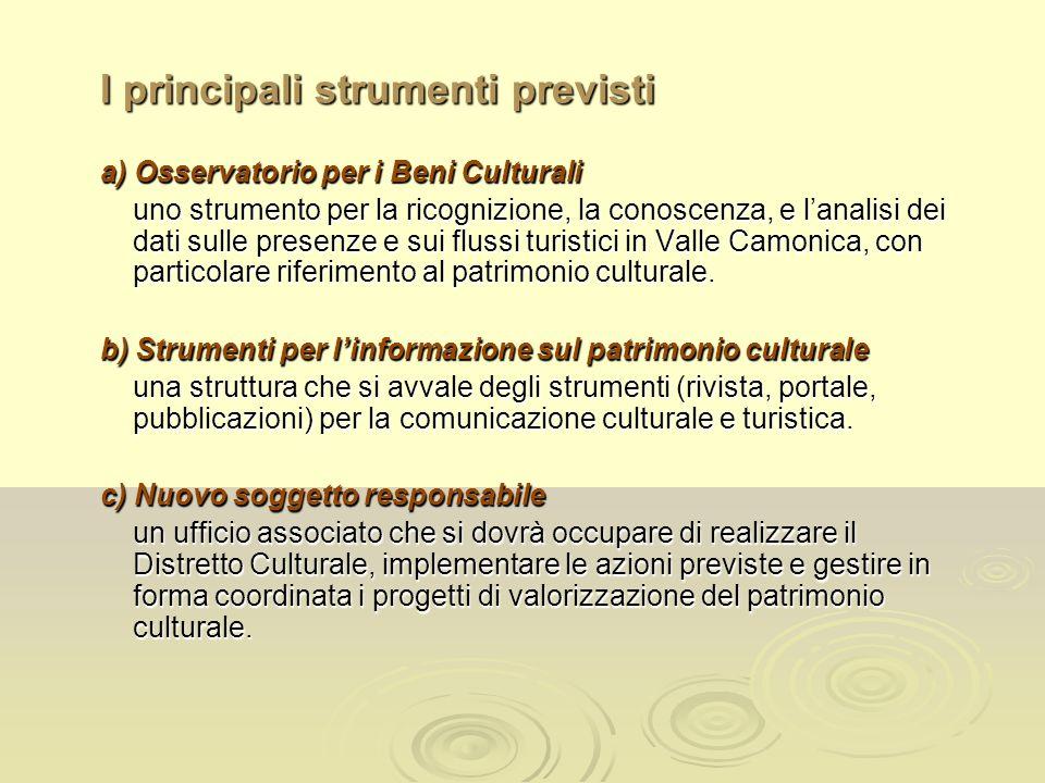 I principali strumenti previsti a) Osservatorio per i Beni Culturali uno strumento per la ricognizione, la conoscenza, e lanalisi dei dati sulle presenze e sui flussi turistici in Valle Camonica, con particolare riferimento al patrimonio culturale.