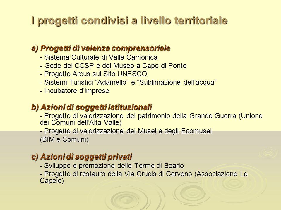 I progetti condivisi a livello territoriale a) Progetti di valenza comprensoriale - Sistema Culturale di Valle Camonica -Sede del CCSP e del Museo a C