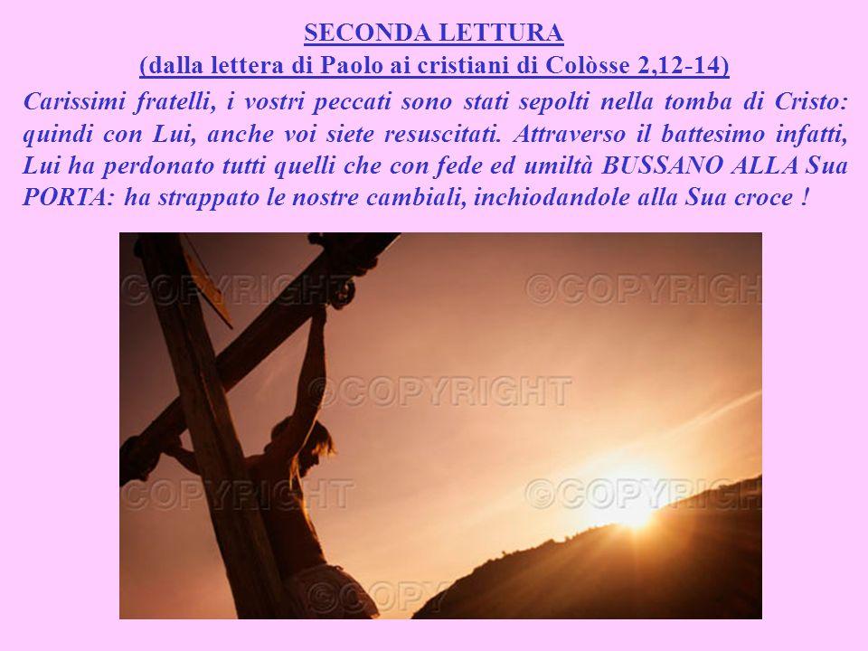 SECONDA LETTURA (dalla lettera di Paolo ai cristiani di Colòsse 2,12-14) Carissimi fratelli, i vostri peccati sono stati sepolti nella tomba di Cristo: quindi con Lui, anche voi siete resuscitati.