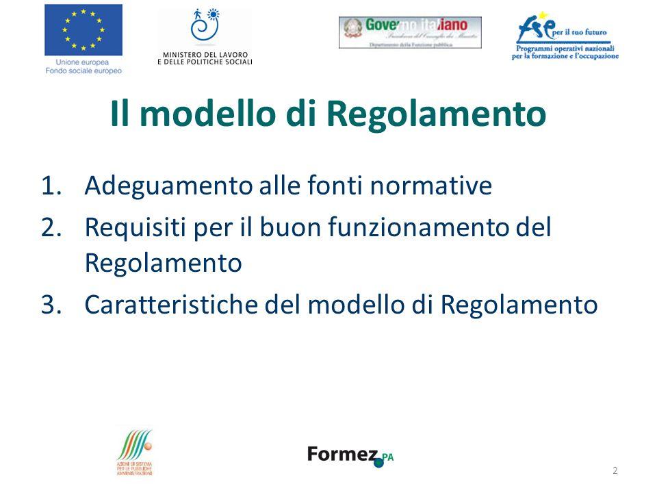 Il modello di Regolamento 1.Adeguamento alle fonti normative 2.Requisiti per il buon funzionamento del Regolamento 3.Caratteristiche del modello di Re