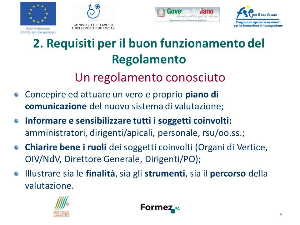 Un regolamento conosciuto Concepire ed attuare un vero e proprio piano di comunicazione del nuovo sistema di valutazione; Informare e sensibilizzare t
