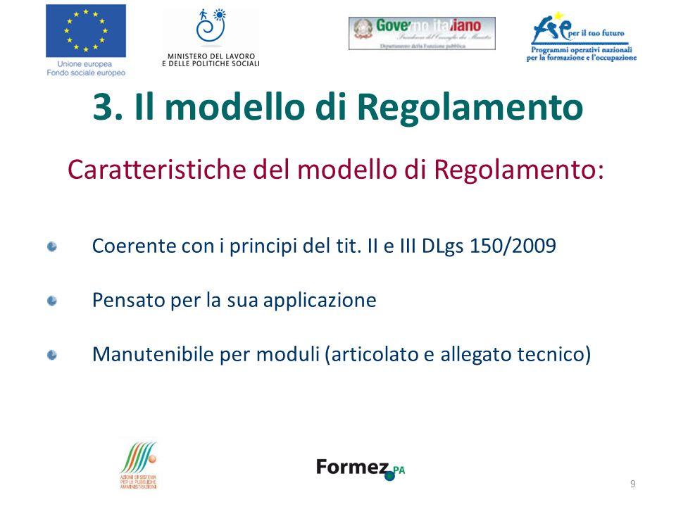 3. Il modello di Regolamento Caratteristiche del modello di Regolamento: Coerente con i principi del tit. II e III DLgs 150/2009 Pensato per la sua ap