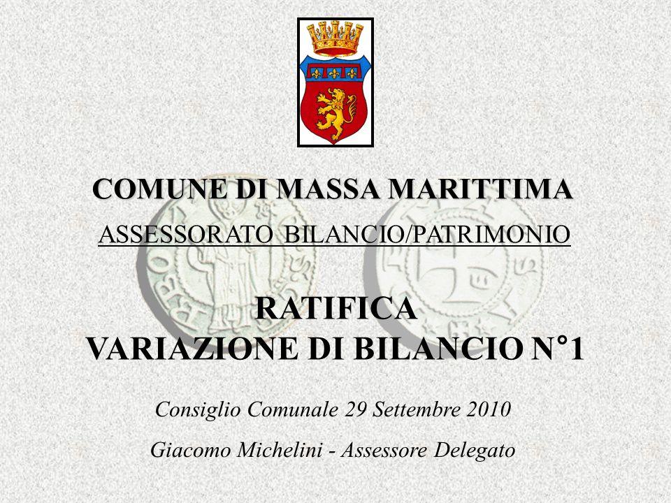 COMUNE DI MASSA MARITTIMA RATIFICA VARIAZIONE DI BILANCIO N°1 ASSESSORATO BILANCIO/PATRIMONIO Consiglio Comunale 29 Settembre 2010 Giacomo Michelini - Assessore Delegato