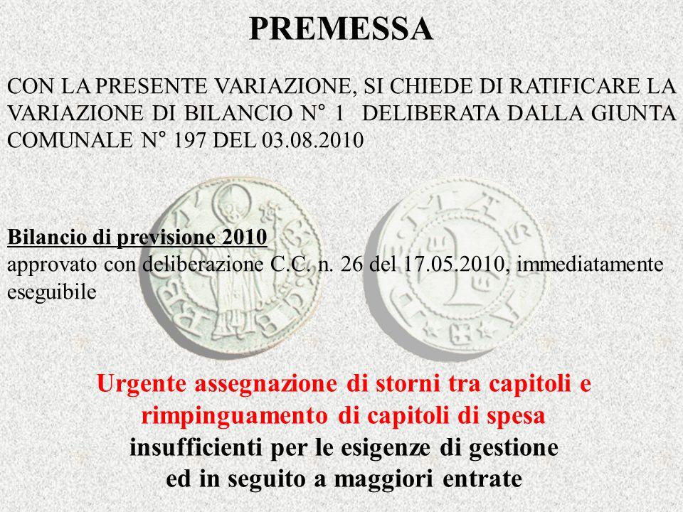 PREMESSA Bilancio di previsione 2010 approvato con deliberazione C.C.