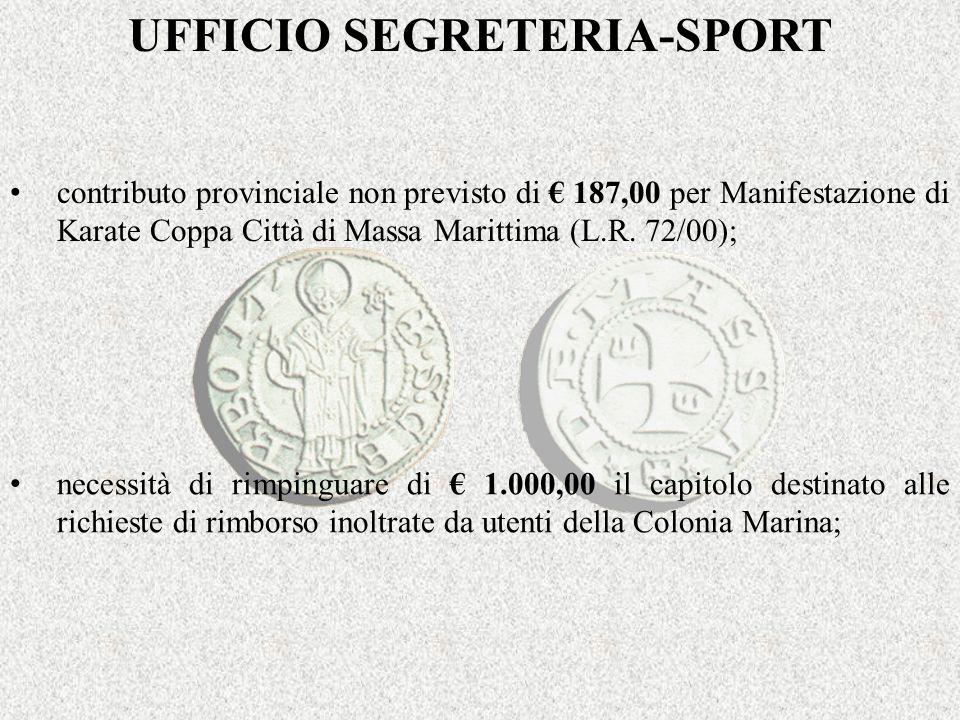 UFFICIO SEGRETERIA-SPORT contributo provinciale non previsto di 187,00 per Manifestazione di Karate Coppa Città di Massa Marittima (L.R.