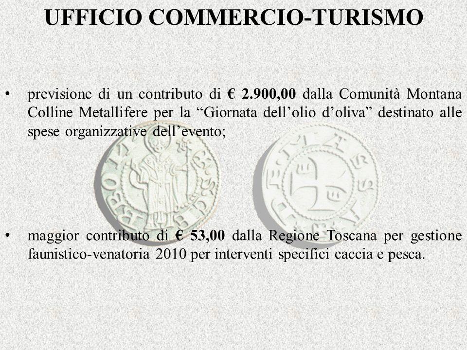 UFFICIO COMMERCIO-TURISMO previsione di un contributo di 2.900,00 dalla Comunità Montana Colline Metallifere per la Giornata dellolio doliva destinato alle spese organizzative dellevento; maggior contributo di 53,00 dalla Regione Toscana per gestione faunistico-venatoria 2010 per interventi specifici caccia e pesca.