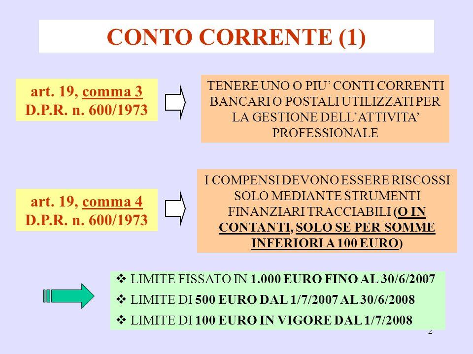 2 CONTO CORRENTE (1) art. 19, comma 3 D.P.R. n.