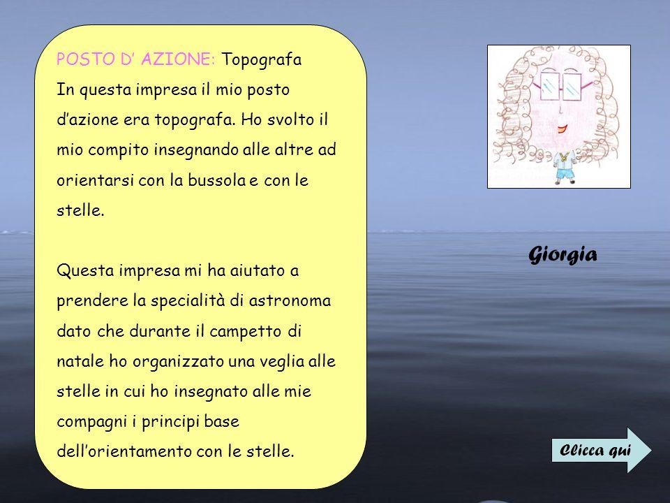 Giorgia POSTO D AZIONE: Topografa In questa impresa il mio posto dazione era topografa. Ho svolto il mio compito insegnando alle altre ad orientarsi c