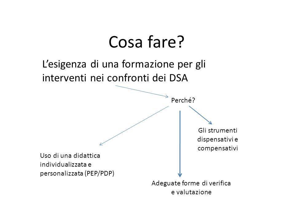 Cosa fare? Lesigenza di una formazione per gli interventi nei confronti dei DSA Perché? Gli strumenti dispensativi e compensativi Uso di una didattica