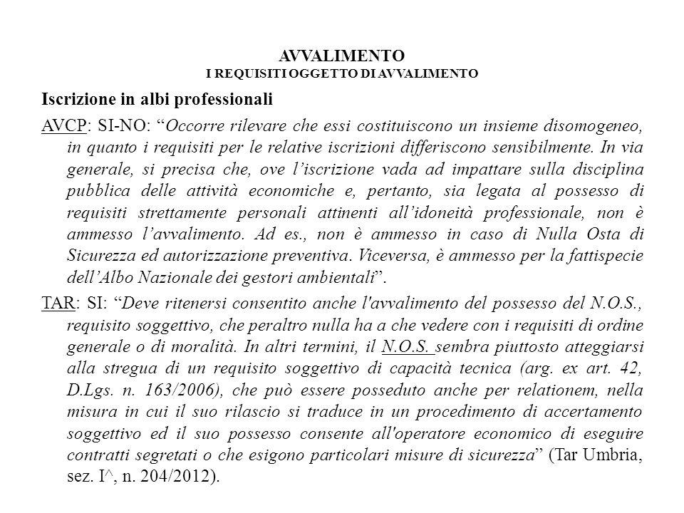 AVVALIMENTO I REQUISITI OGGETTO DI AVVALIMENTO Iscrizione in albi professionali AVCP: SI-NO: Occorre rilevare che essi costituiscono un insieme disomo