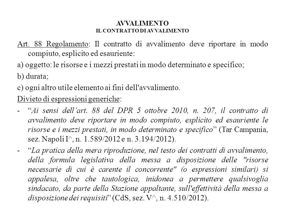 AVVALIMENTO IL CONTRATTO DI AVVALIMENTO Art. 88 Regolamento: Il contratto di avvalimento deve riportare in modo compiuto, esplicito ed esauriente: a)
