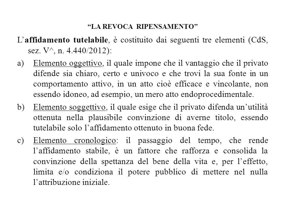 LA REVOCA RIPENSAMENTO Laffidamento tutelabile, è costituito dai seguenti tre elementi (CdS, sez. V^, n. 4.440/2012): a)Elemento oggettivo, il quale i