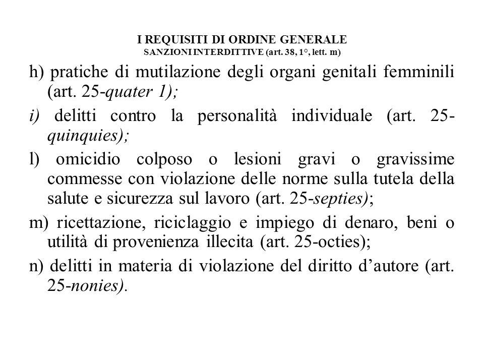 I REQUISITI DI ORDINE GENERALE SANZIONI INTERDITTIVE (art. 38, 1°, lett. m) h) pratiche di mutilazione degli organi genitali femminili (art. 25-quater