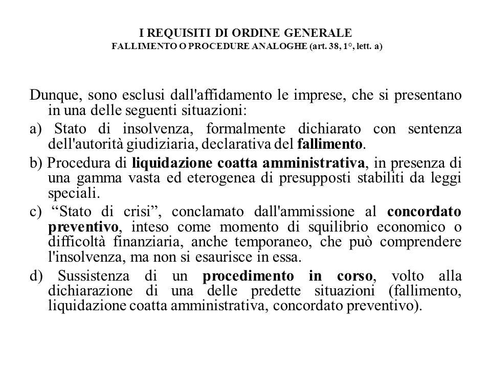 I REQUISITI DI ORDINE GENERALE FALLIMENTO O PROCEDURE ANALOGHE (art. 38, 1°, lett. a) Dunque, sono esclusi dall'affidamento le imprese, che si present