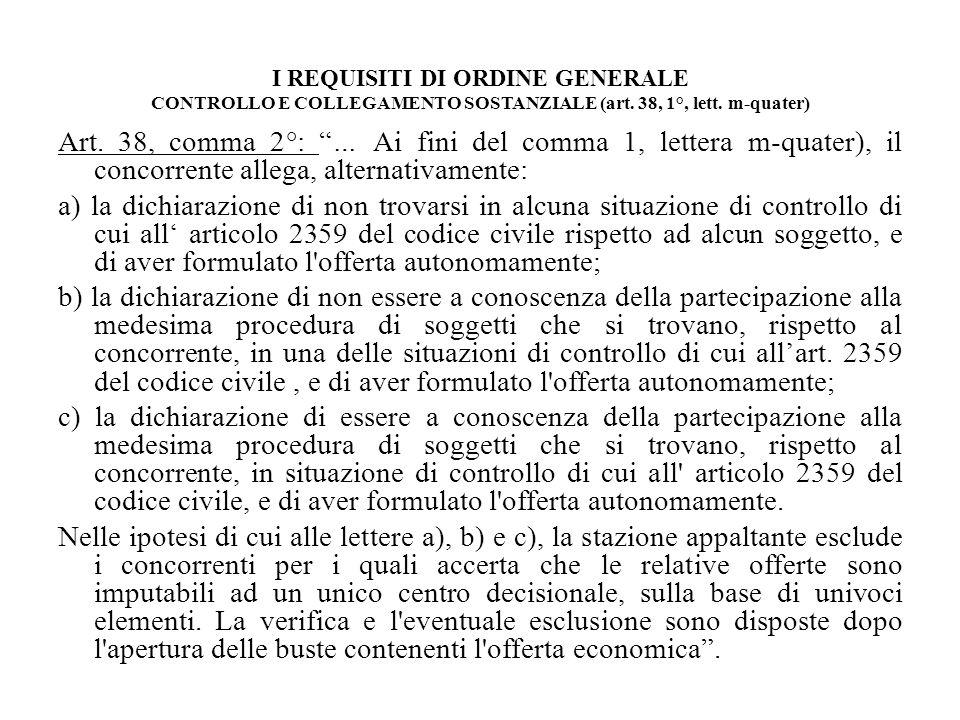 I REQUISITI DI ORDINE GENERALE CONTROLLO E COLLEGAMENTO SOSTANZIALE (art. 38, 1°, lett. m-quater) Art. 38, comma 2°: … Ai fini del comma 1, lettera m-