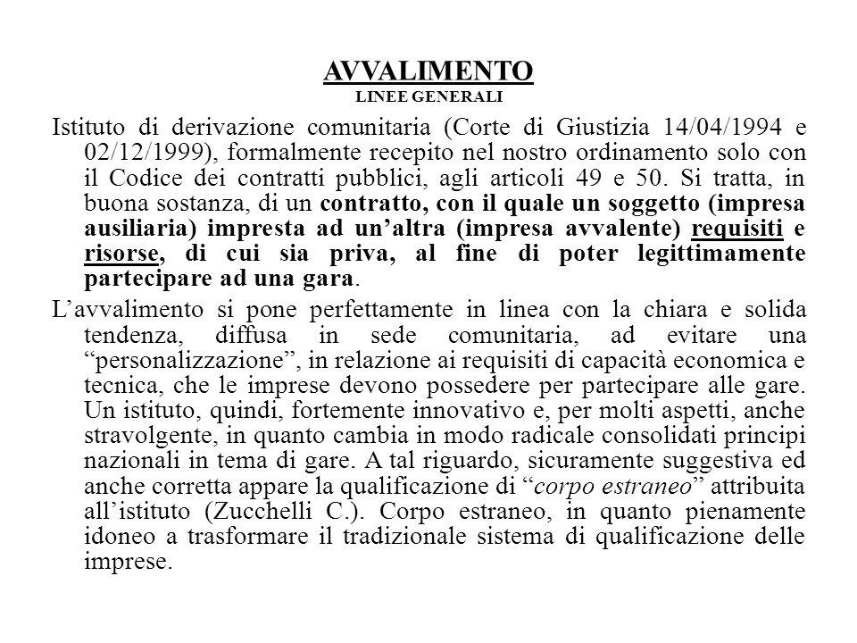 AVVALIMENTO LINEE GENERALI Istituto di derivazione comunitaria (Corte di Giustizia 14/04/1994 e 02/12/1999), formalmente recepito nel nostro ordinamento solo con il Codice dei contratti pubblici, agli articoli 49 e 50.