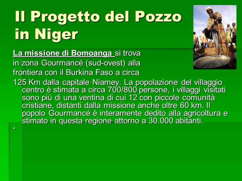 Il Progetto del Pozzo in Niger La missione di Bomoanga si trova in zona Gourmancé (sud-ovest) alla frontiera con il Burkina Faso a circa 125 Km dalla capitale Niamey.