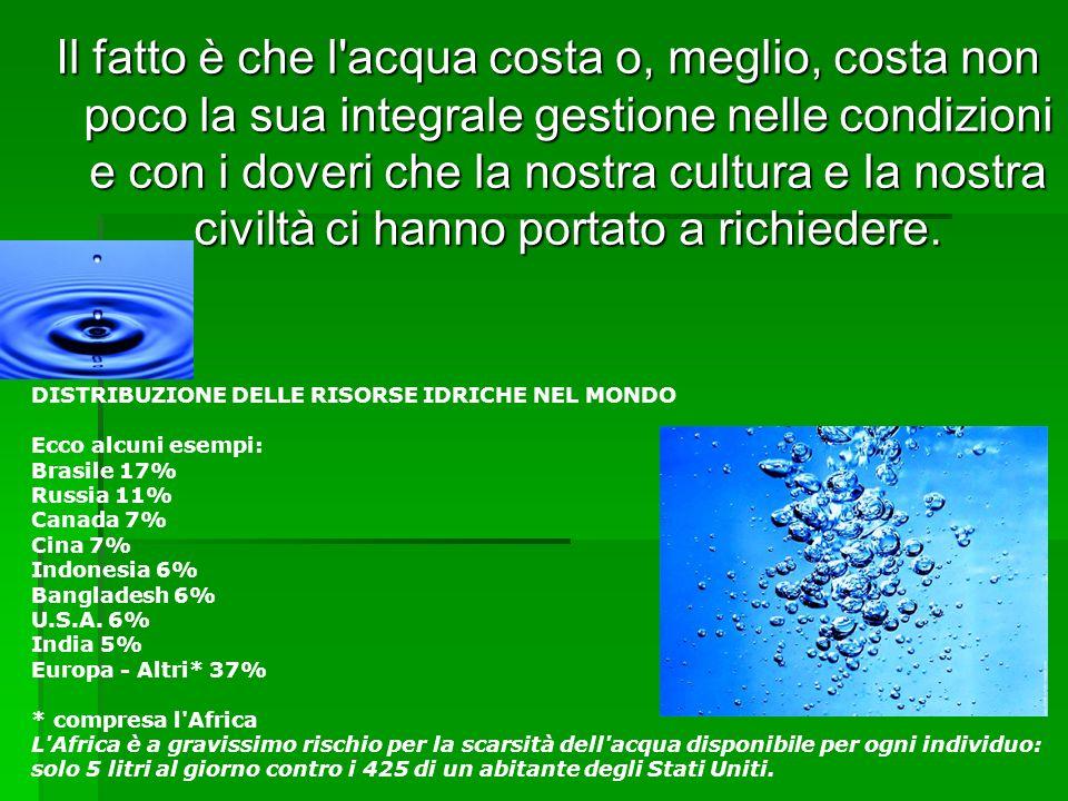 Il fatto è che l'acqua costa o, meglio, costa non poco la sua integrale gestione nelle condizioni e con i doveri che la nostra cultura e la nostra civ
