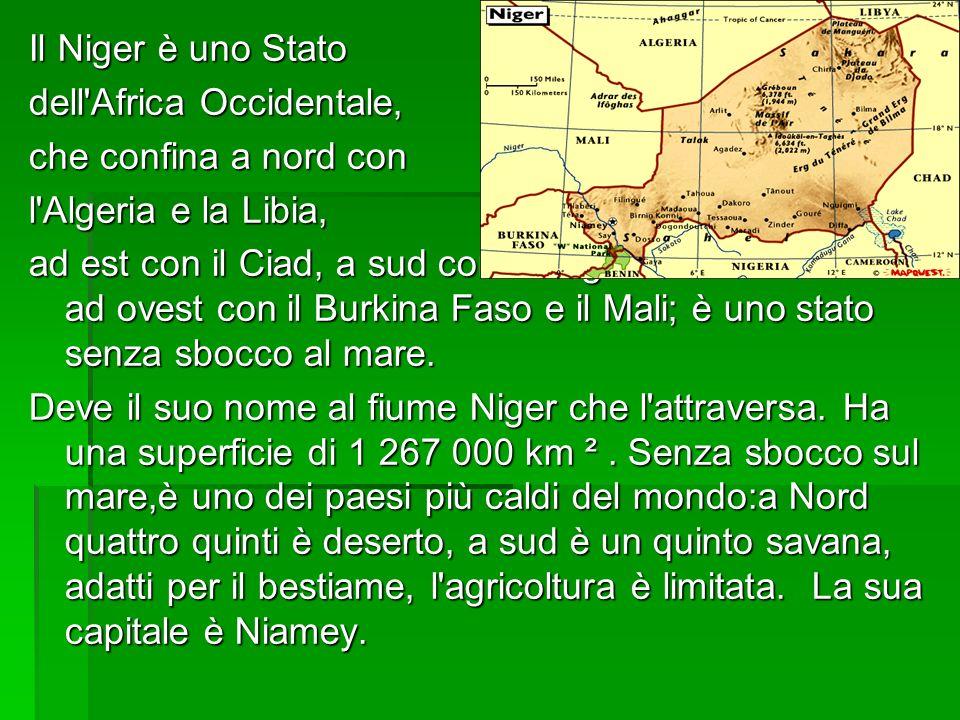 Posizione geografica del Niger Situato nel medio continente africano, il Niger è composto per i suoi due terzi del territorio da parte del deserto del Sahara, praticamente inabitabile, che costituisce tutto il nord del paese.