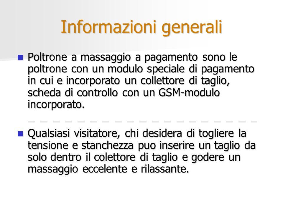 Informazioni generali Poltrone a massaggio a pagamento sono le poltrone con un modulo speciale di pagamento in cui e incorporato un collettore di tagl