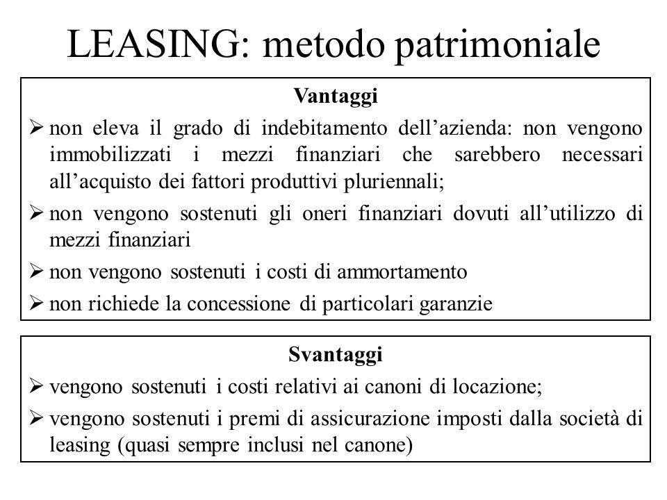 LEASING: aspetti fiscali Dal punto di vista fiscale, la deducibilità dei canoni di leasing è legata alla tipologia di bene ed alla durata del contratto (art.
