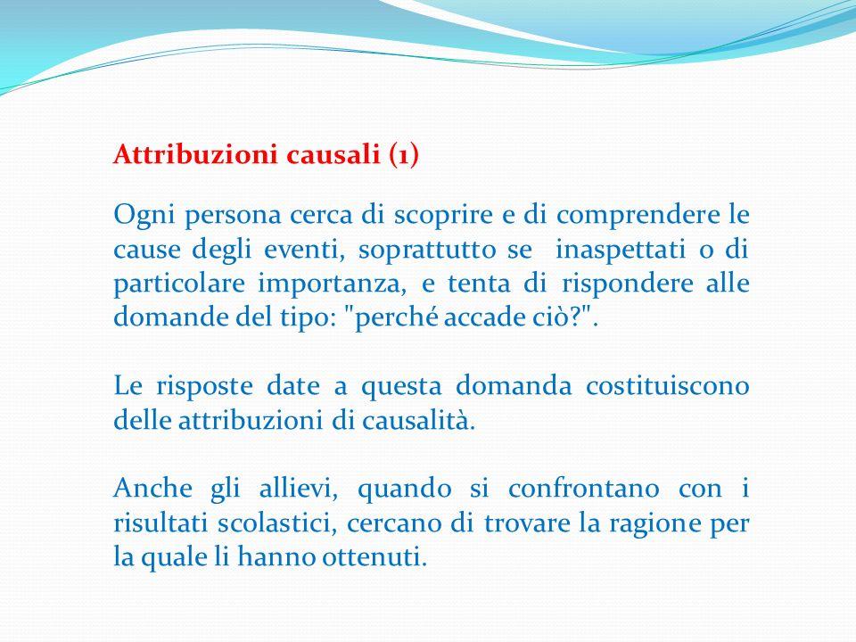 Attribuzioni causali (1) Ogni persona cerca di scoprire e di comprendere le cause degli eventi, soprattutto se inaspettati o di particolare importanza