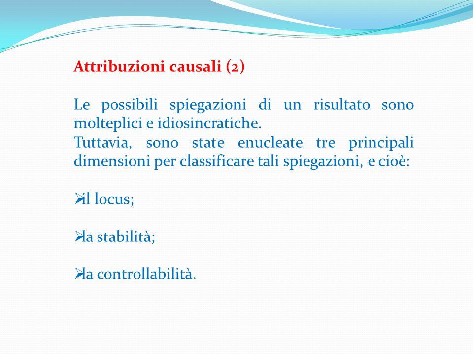 Attribuzioni causali (2) Le possibili spiegazioni di un risultato sono molteplici e idiosincratiche. Tuttavia, sono state enucleate tre principali dim