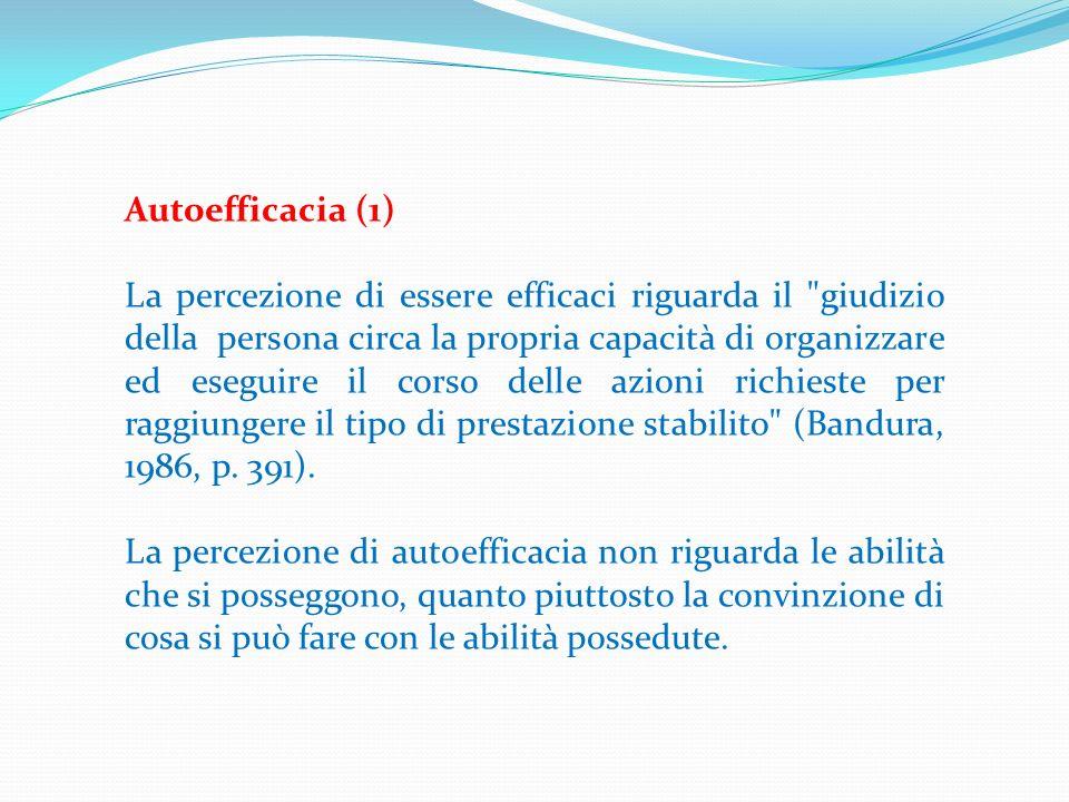 Autoefficacia (1) La percezione di essere efficaci riguarda il