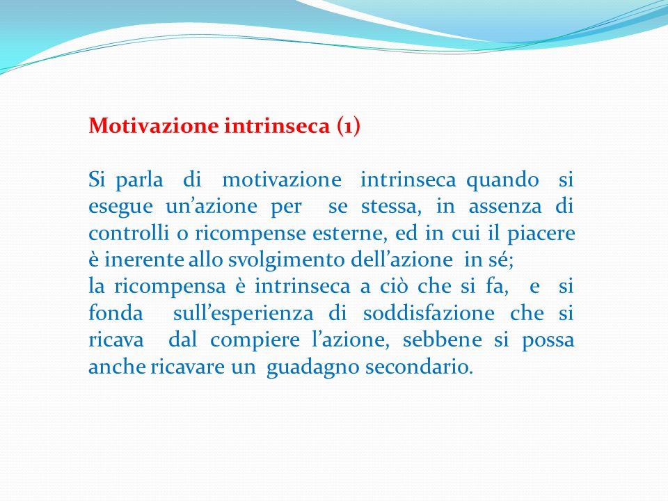 Motivazione intrinseca (1) Si parla di motivazione intrinseca quando si esegue unazione per se stessa, in assenza di controlli o ricompense esterne, e