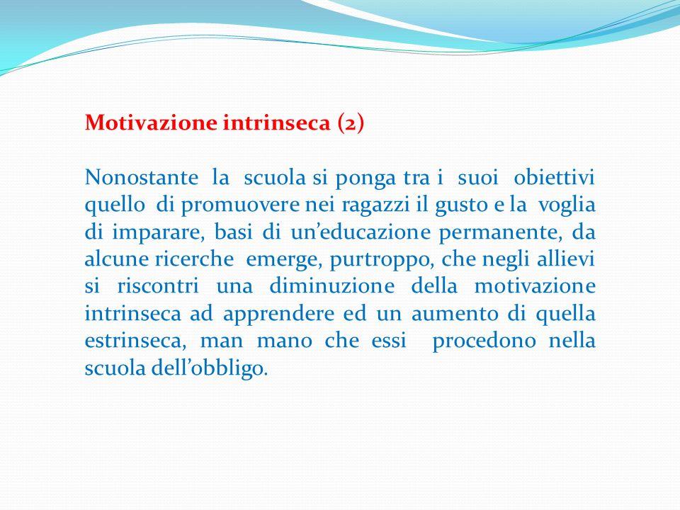 Motivazione intrinseca (2) Nonostante la scuola si ponga tra i suoi obiettivi quello di promuovere nei ragazzi il gusto e la voglia di imparare, basi