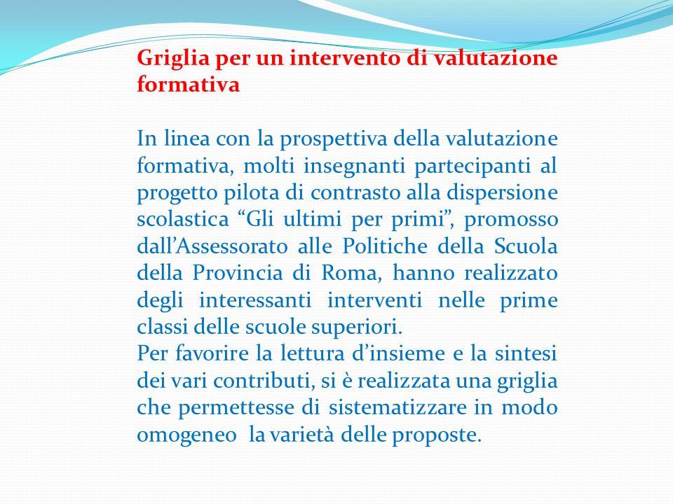 Valutazione formativa in senso lato (1) Tra gli aspetti considerati nella griglia, ci soffermiamo su quello relativo alla comunicazione della valutazione.