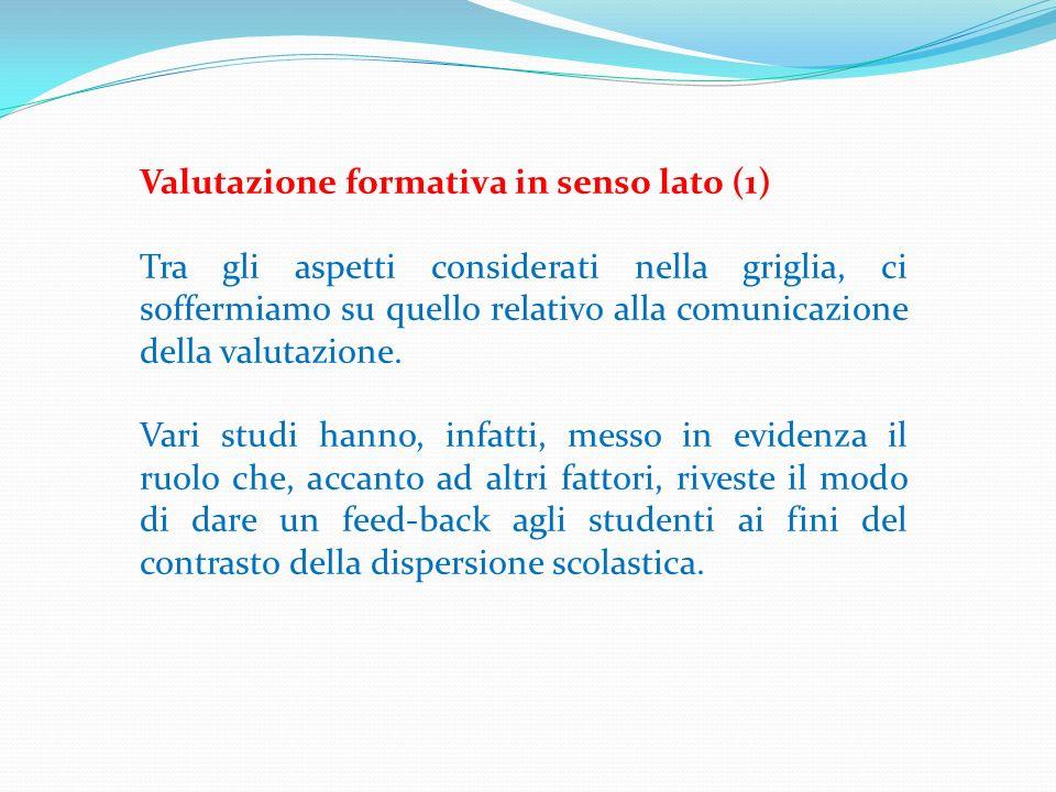 Valutazione formativa in senso lato (1) Tra gli aspetti considerati nella griglia, ci soffermiamo su quello relativo alla comunicazione della valutazi