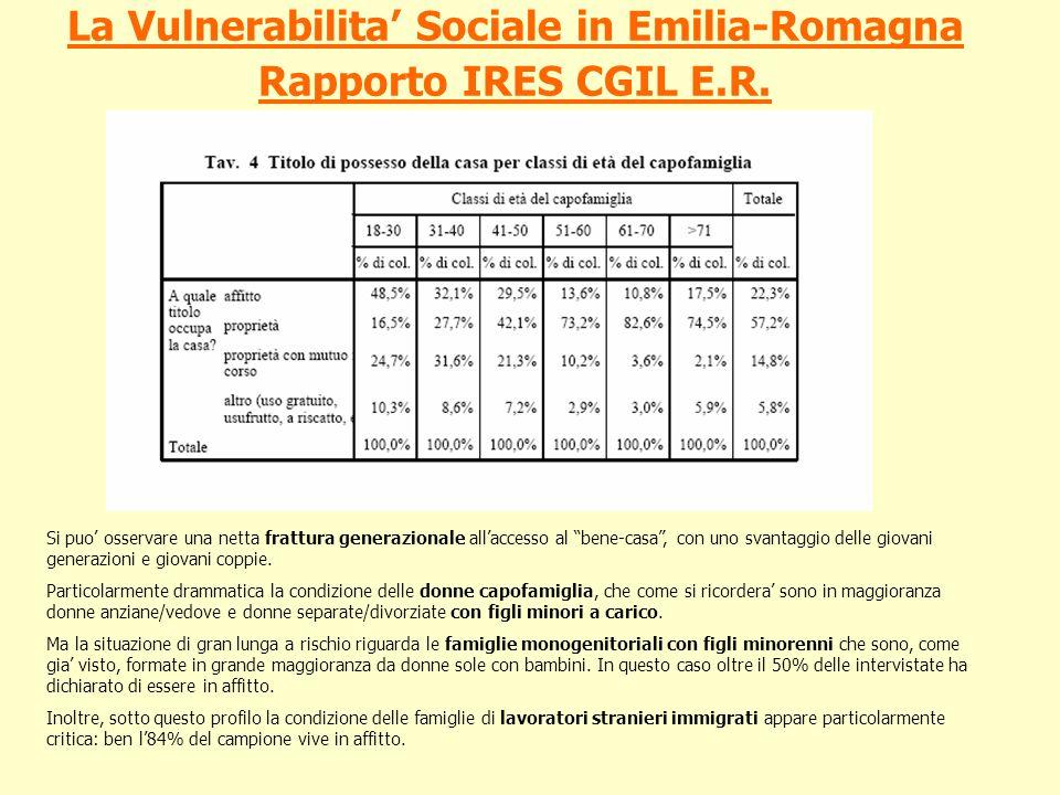 La Vulnerabilita Sociale in Emilia-Romagna Rapporto IRES CGIL E.R. Si puo osservare una netta frattura generazionale allaccesso al bene-casa, con uno