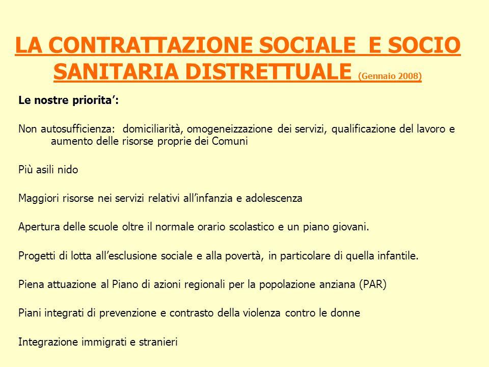 LA CONTRATTAZIONE SOCIALE E SOCIO SANITARIA DISTRETTUALE (Gennaio 2008) Le nostre priorita: Non autosufficienza: domiciliarità, omogeneizzazione dei s