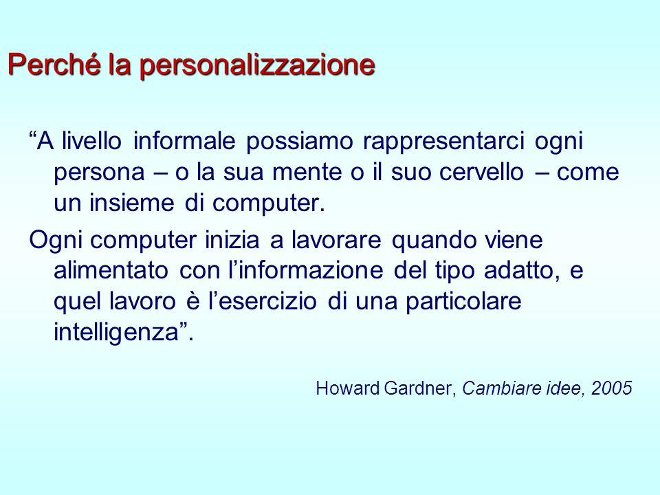 Perché la personalizzazione A livello informale possiamo rappresentarci ogni persona – o la sua mente o il suo cervello – come un insieme di computer.