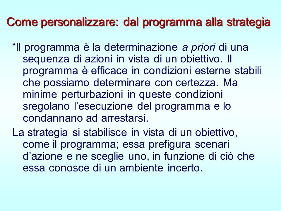Come personalizzare: dal programma alla strategia Come personalizzare: dal programma alla strategia Il programma è la determinazione a priori di una sequenza di azioni in vista di un obiettivo.