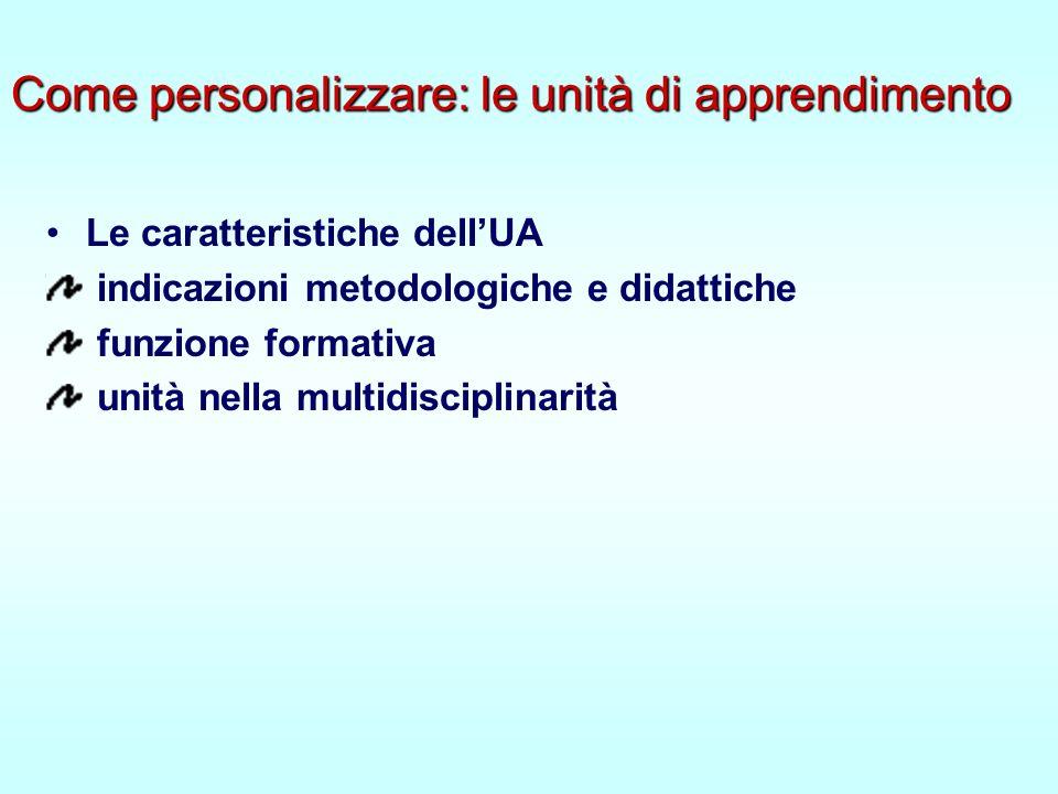 Come personalizzare: le unità di apprendimento Le caratteristiche dellUA indicazioni metodologiche e didattiche funzione formativa unità nella multidisciplinarità