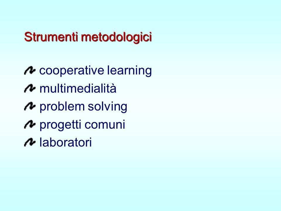 Strumenti metodologici cooperative learning multimedialità problem solving progetti comuni laboratori