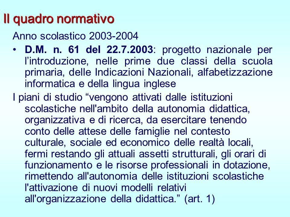 Il quadro normativo Anno scolastico 2003-2004 D.M.