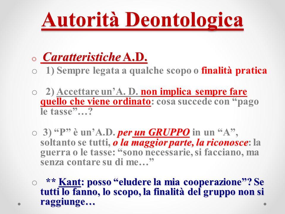 Autorità Deontologica o Caratteristiche A.D.