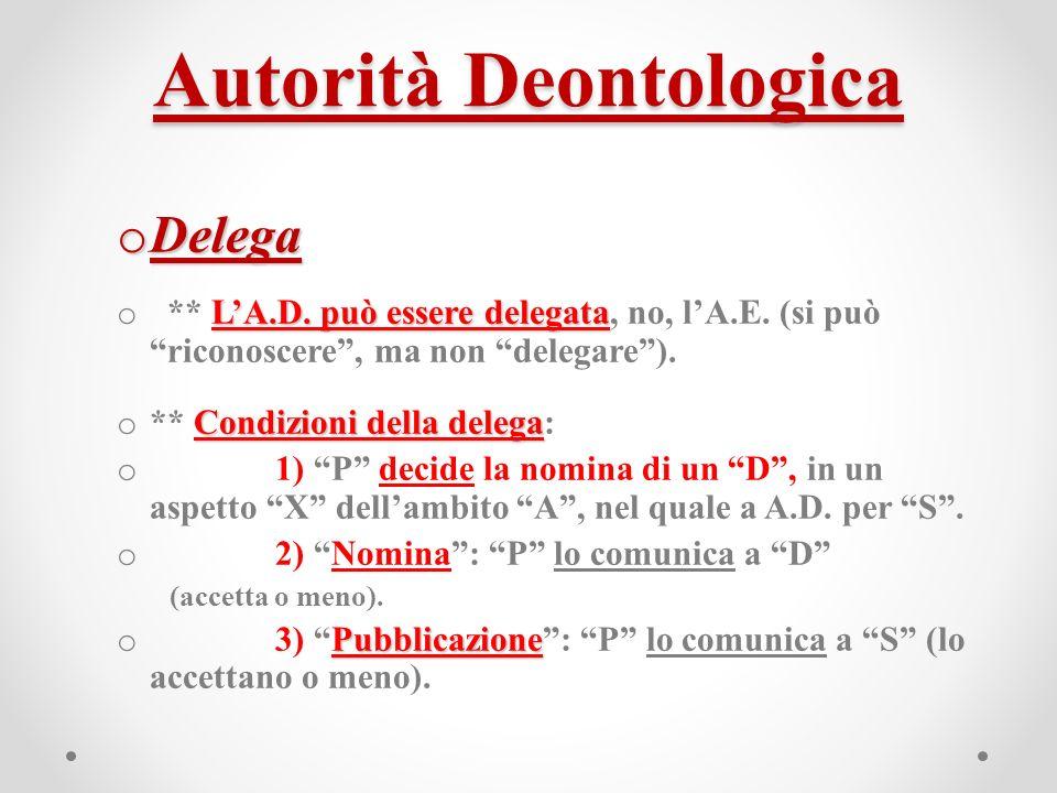 Autorità Deontologica o Delega LA.D. può essere delegata o ** LA.D.