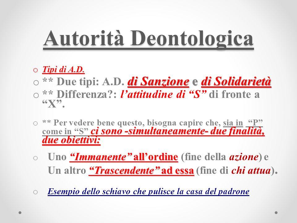 Autorità Deontologica o Tipi di A.D. di Sanzione e di Solidarietà o ** Due tipi: A.D.