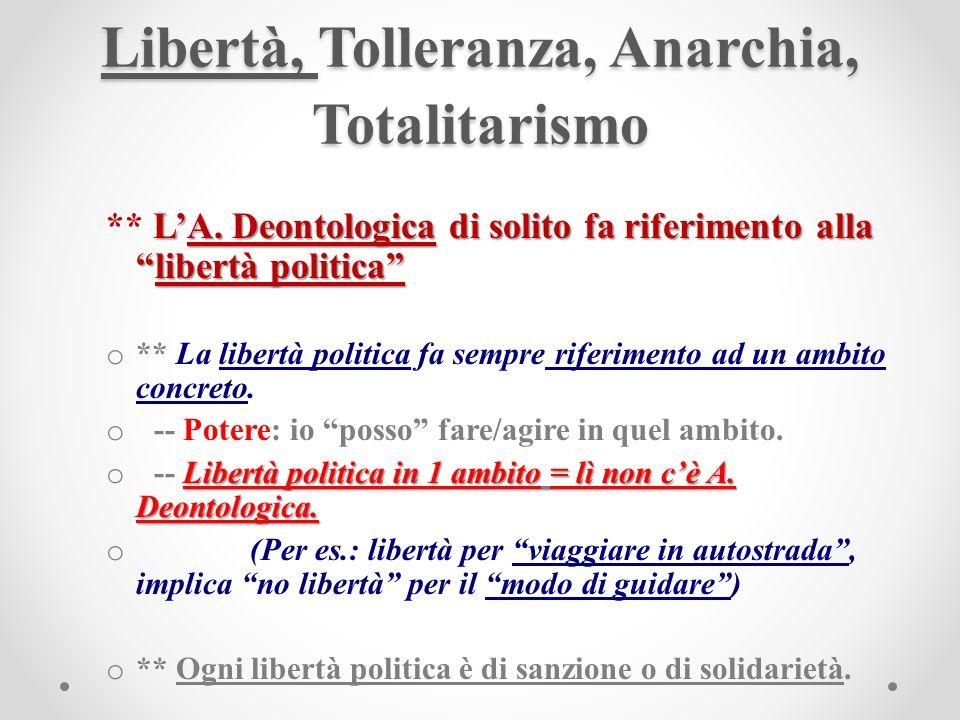 Libertà, Tolleranza, Anarchia, Totalitarismo LA.