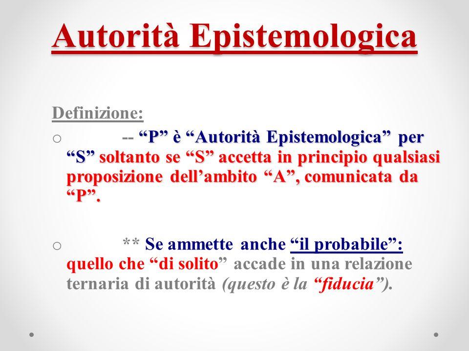 Autorità Epistemologica Definizione: P è Autorità Epistemologica per S soltanto se S accetta in principio qualsiasi proposizione dellambito A, comunicata da P.