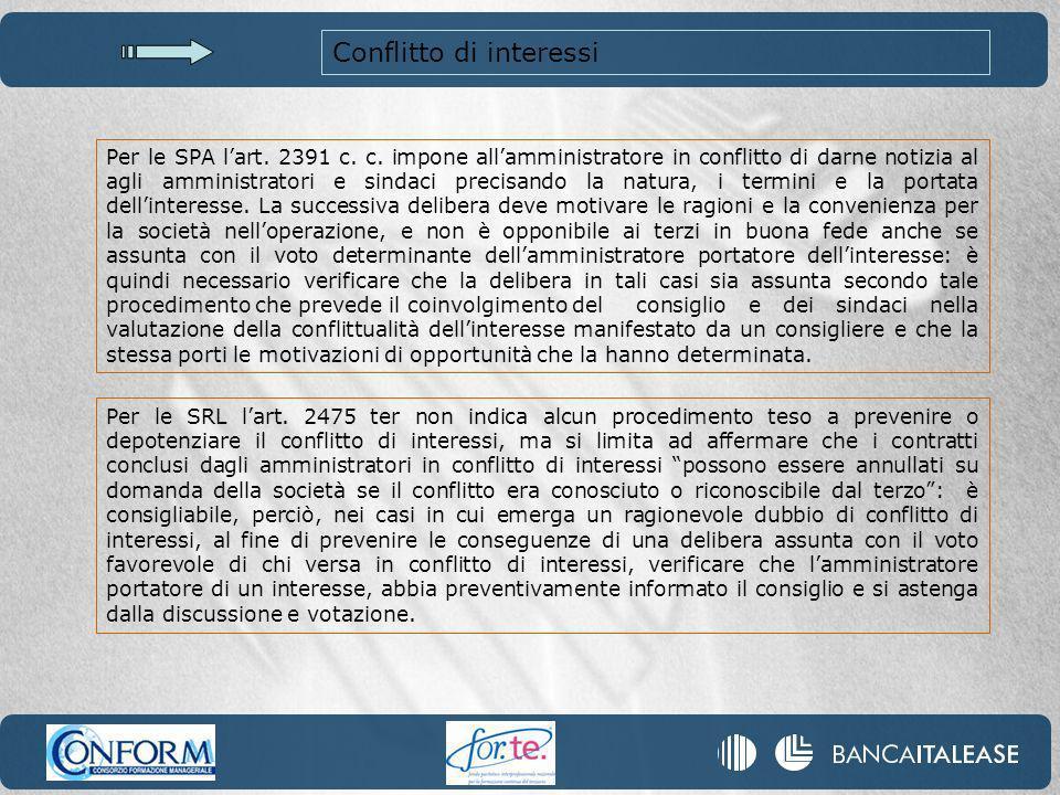 Conflitto di interessi Per le SPA lart.2391 c. c.