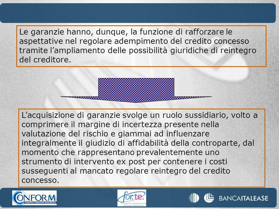 Le garanzie hanno, dunque, la funzione di rafforzare le aspettative nel regolare adempimento del credito concesso tramite lampliamento delle possibilità giuridiche di reintegro del creditore.